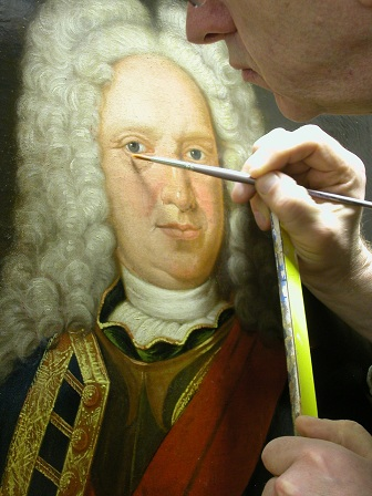"Grashe Seattle and Bellevue Fine Art Restorers. Rare and interesting cases of antique restoration: Friedrich Wilhelm Dux of Saxonia and Meisson painting, Oil on Canvas, 22"" X 27"" Circa 1733. Restoration project in process."