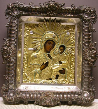 Grashe Seattle and Bellevue Fine Art Restorers. Rare and interesting cases of antique restoration: Mother of God of Kazan Russian Icon 19 Century, Icon and Silver Oklad, Circa 1855