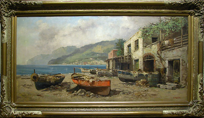Grashe Seattle and Bellevue Fine Art Restorers. Art for sale: Painting ''Afternoon'' By Giuseppe Cosenza(Italian), 1847-1922.
