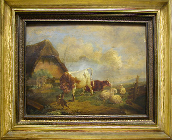 Grashe Seattle and Bellevue Fine Art Restorers. Art for sale: Painting ''Farm House'' By Johann Gotthard von Müller (Germany 1747 - 1830).