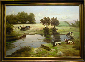 Grashe Seattle and Bellevue Fine Art Restorers. Art for sale: Painting ''Grazing Cows'' by Mark Osman Curtis.