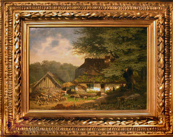 Grashe Seattle and Bellevue Fine Art Restorers. Art for sale: ''House Under the Tree'' By Bonnier (French), 1860.