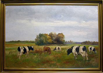 Grashe Seattle and Bellevue Fine Art Restorers. Art for sale: Painting ''Landscape with Cows'' by Cristensen Godfred Polycarpus 1845-1928 (Danish).