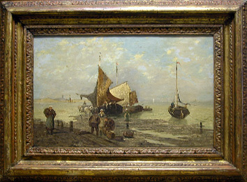 Grashe Seattle and Bellevue Fine Art Restorers. Art for sale: Painting ''Morning Fishermans Market'' by Paul Cassani, 1832-1889 (Italian).