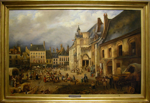 Grashe Seattle and Bellevue Fine Art Restorers. Art for sale: Painting ''Market in Strasbourg'' By Pascal-Adolphe-Jean Dagnan-Bouveret 1852-1929 French.