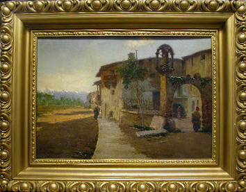 Grashe Seattle and Bellevue Fine Art Restorers. Art for sale: Painting ''Mountain Village'' by Viscardo Carton, 1867-1926 (Italian).