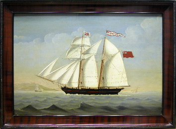 Grashe Seattle and Bellevue Fine Art Restorers. Art for sale: Painting ''Ship Portrait of the English Brig'' Harriot, c.1800.