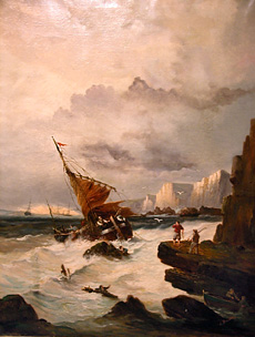 Grashe Seattle and Bellevue Fine Art Restorers. Art for sale: ''Shipwreck'' By Alfred Budsey (British), c. 1820.