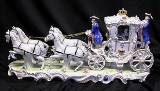 Grashe Seattle and Bellevue Fine Art Restorers. Art for sale: ''Carriage'' Dresden Porcelain Composition.