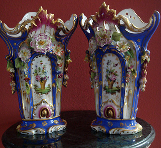 Grashe Seattle and Bellevue Fine Art Restorers. Art for sale: Jacob Petit. Rare Pair of Vases.