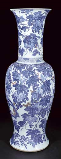 Vase Painted in White Blue and Copper-red Painting with Images of Lush Grapevines