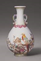 Vase with two Pheasants Sitting on Blossoming Branches